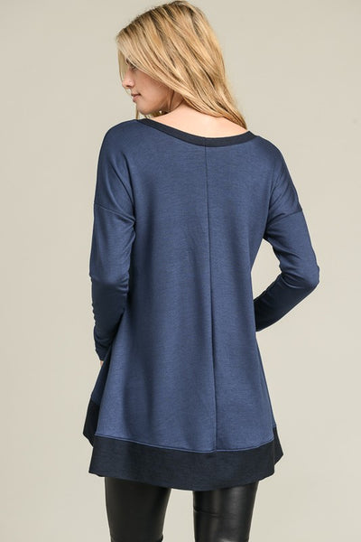 Drop-Shoulder Solid Long Sleeve Top - Superior Boutique