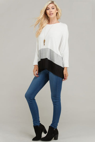 Curvy Color Blocked Oversize Knit Top - Superior Boutique