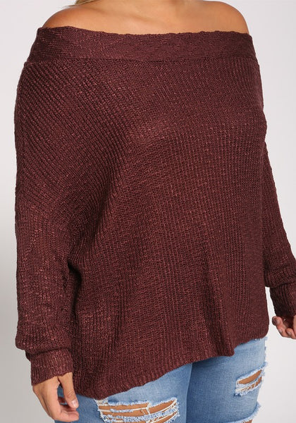 Curvy Off Shoulder Knit Sweater Top - Superior Boutique