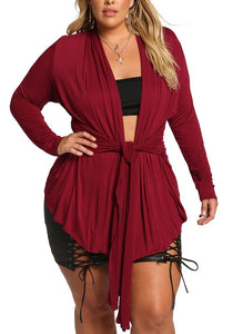 Curvy Front Tie Knit Cardigan - Superior Boutique