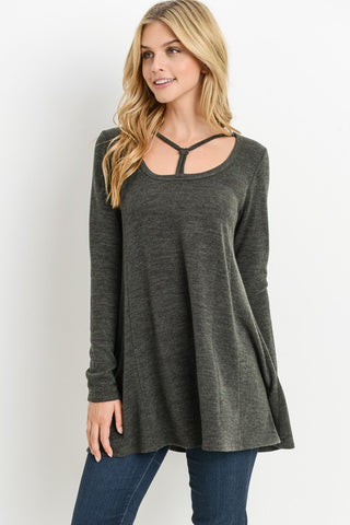 Neck String Detailed Tunic Top - Superior Boutique