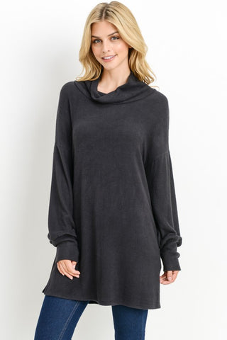 Hacci Cowl Neck Tunic Top - Superior Boutique