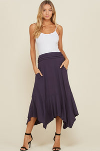 Shirring High Waist Ruffle Skirt