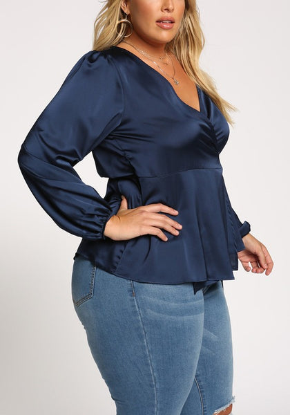 Curvy Silky Puff Sleeve Wrap Blouse - Superior Boutique
