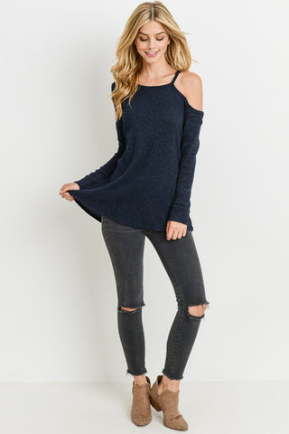 One-Sided Open Shoulder Long Sleeve Top - Superior Boutique