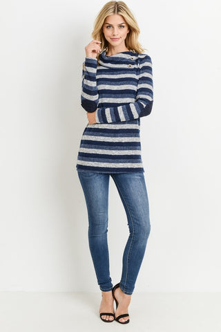 Striped Button Cowl Neck Tunic Sweater Top - Superior Boutique