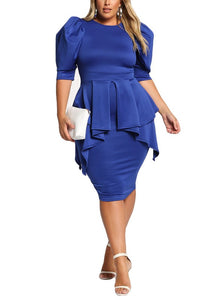 Curvy Puff Sleeve Cascading Peplum Dress