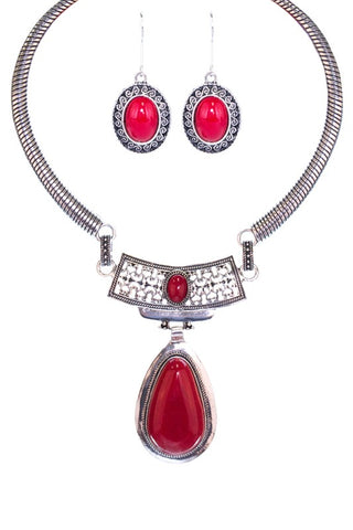 Tear Drops Necklace Set - RED