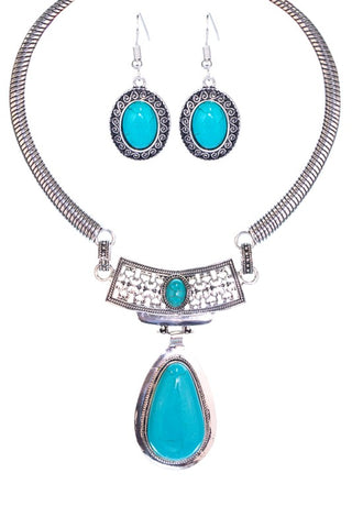 Tear Drops Necklace Set - TURQUOISE