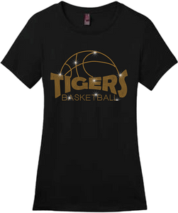 Basketball Outline Bling Short Sleeve Style Shirts