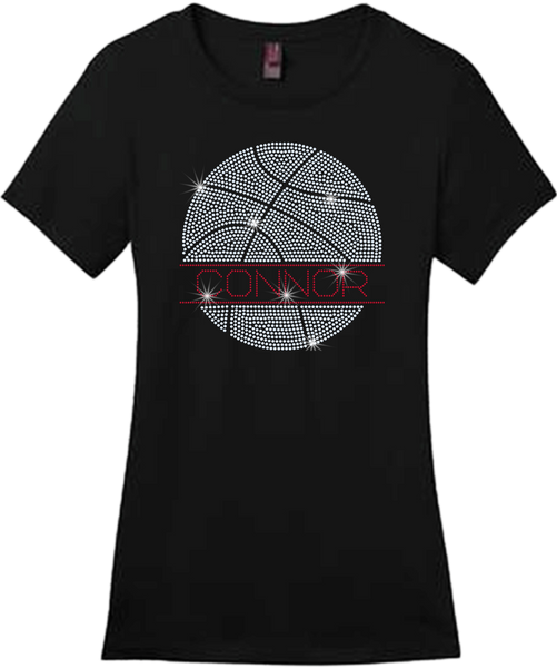Large Basketball With Name Bling Short Sleeve Style Shirts
