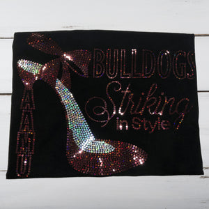 A&M Bulldogs High Heel Bling Shirt