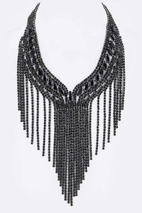 Gorgeous Rhinestone Necklace (Black) - Superior Boutique