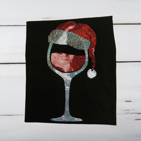Santa & Wine Bling Shirt - Superior Boutique