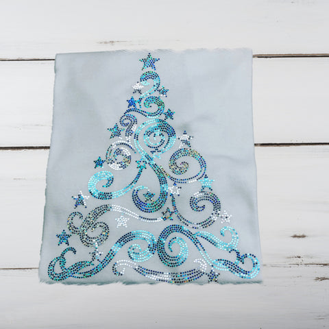Christmas Tree Bling Shirt (Teal & Silver) - Superior Boutique