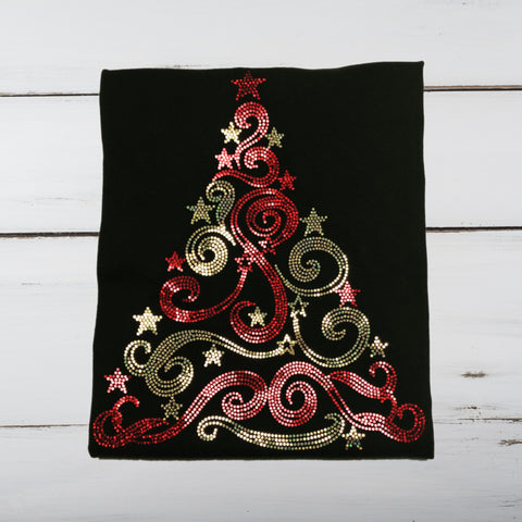 Christmas Tree Bling Shirt (Red & Gold) - Superior Boutique