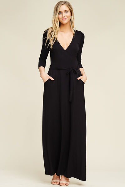 Wrapped Maxi Dress With Pockets - Superior Boutique