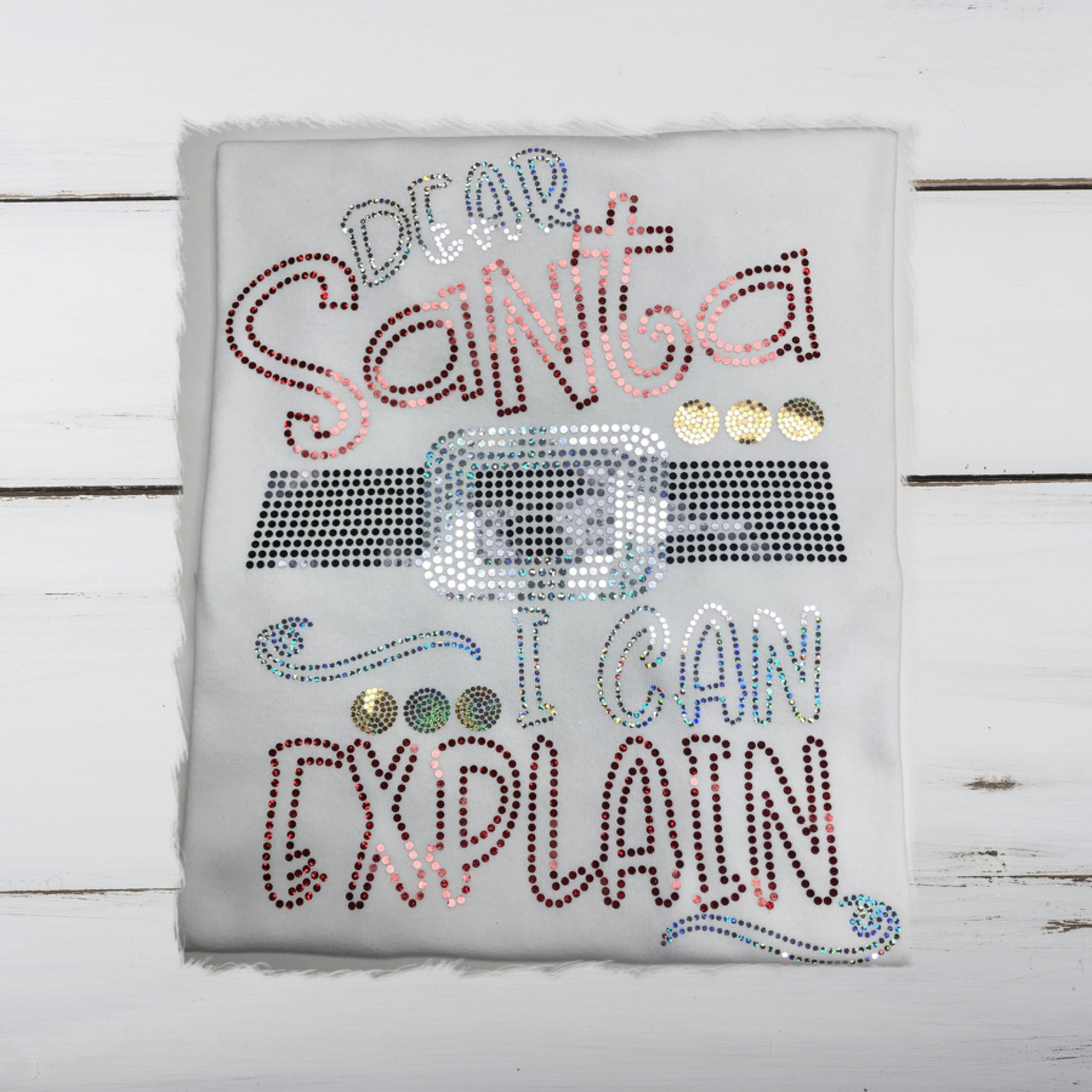Dear Santa...I Can Explain...Bling Shirt (Red, Silver, Gold) - Superior Boutique