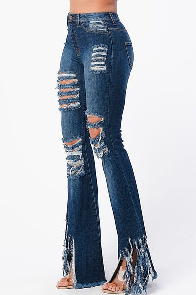 Frayed Out Jeans - Dark Blue
