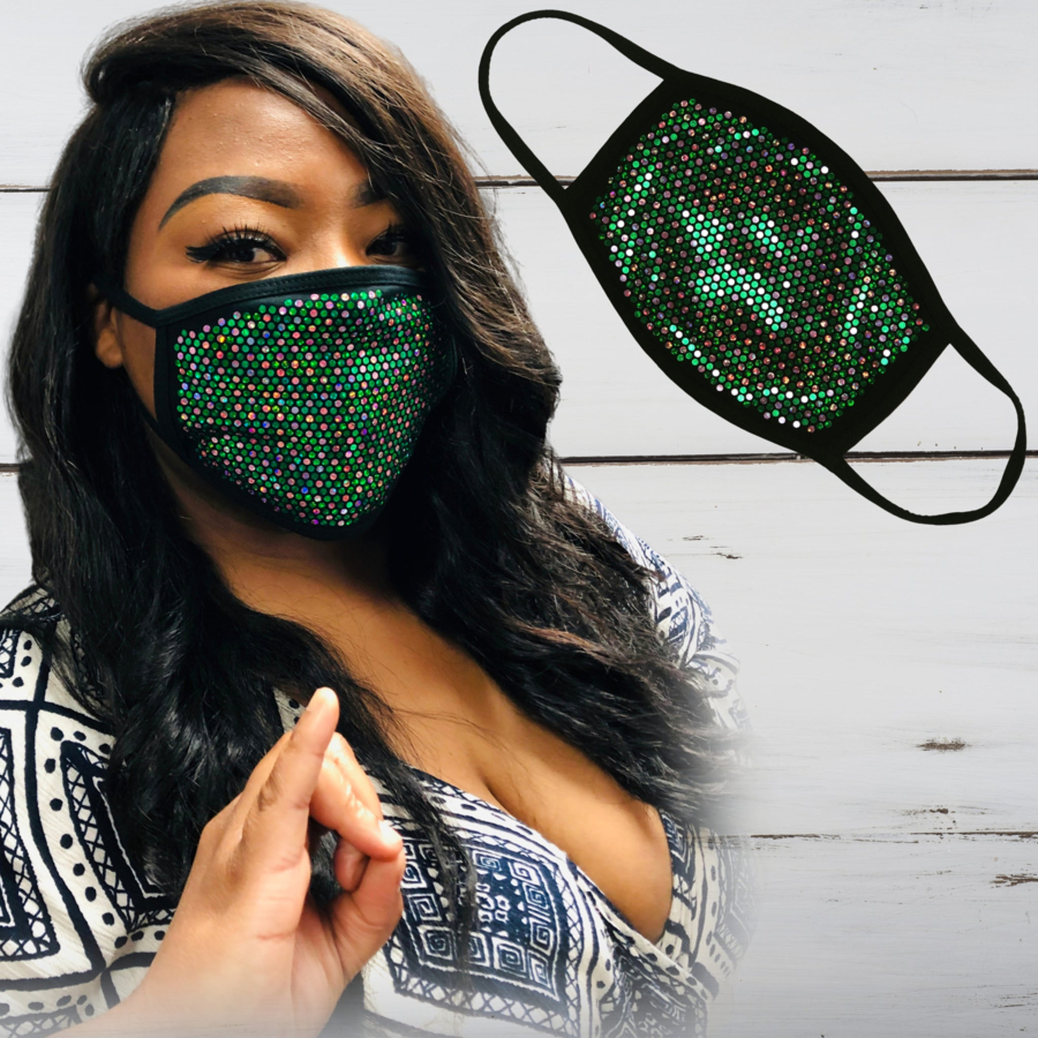 Sisterhood (Pink & Green) Bling Face Mask - Superior Boutique