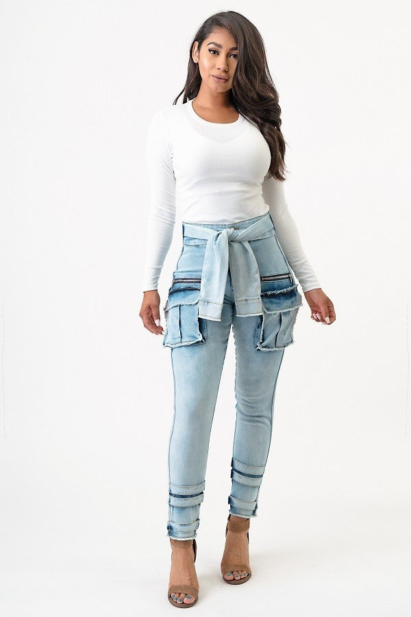High Rise Cargo Jeans - Superior Boutique