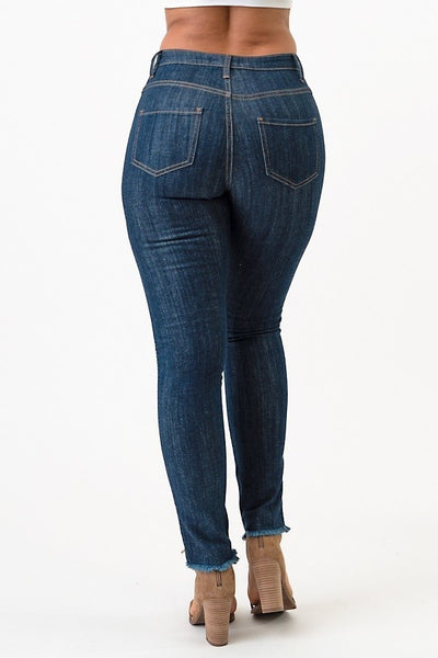 Side Zippered High Rise Skinny Jeans (Dark Blue) - Superior Boutique