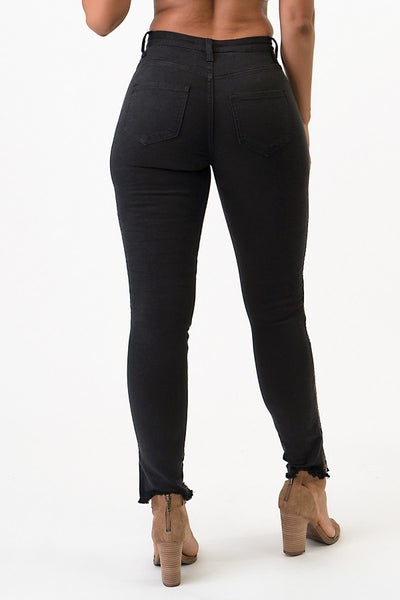 Side Zippered High Rise Skinny Jeans (Black) - Superior Boutique