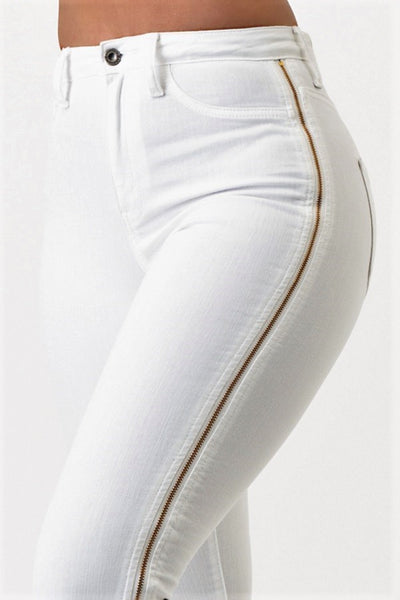 Side Zippered High Rise Skinny Jeans (White) - Superior Boutique