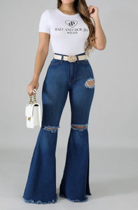 Hi-Waist Bell Bottom Jeans - Superior Boutique