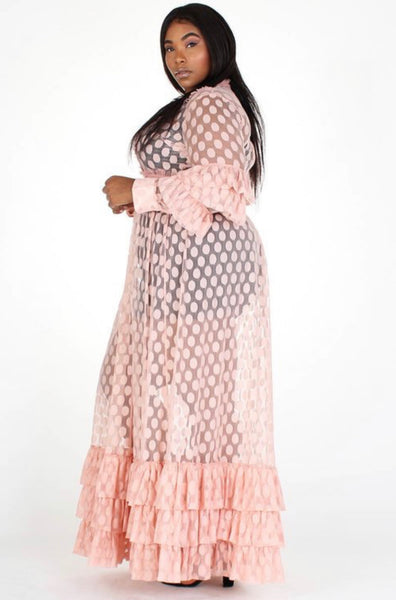 Polka Dot Goddess Maxi Dress (Pink) - Superior Boutique