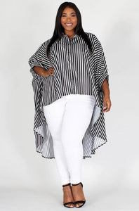 Stripe Me Down Hi-Lo Top