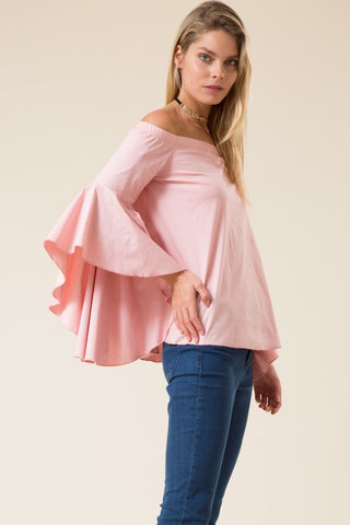 Off Shoulder Long Cascading Bell Sleeve Tunic Top