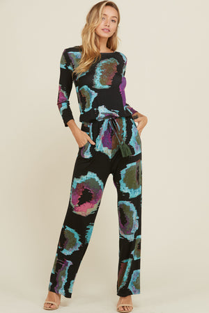Multi Print Elastic Waist Tie Jumpsuit - Superior Boutique