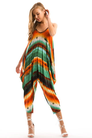 Final Sale Spaghetti Strap Low Back Harem Jumpsuit