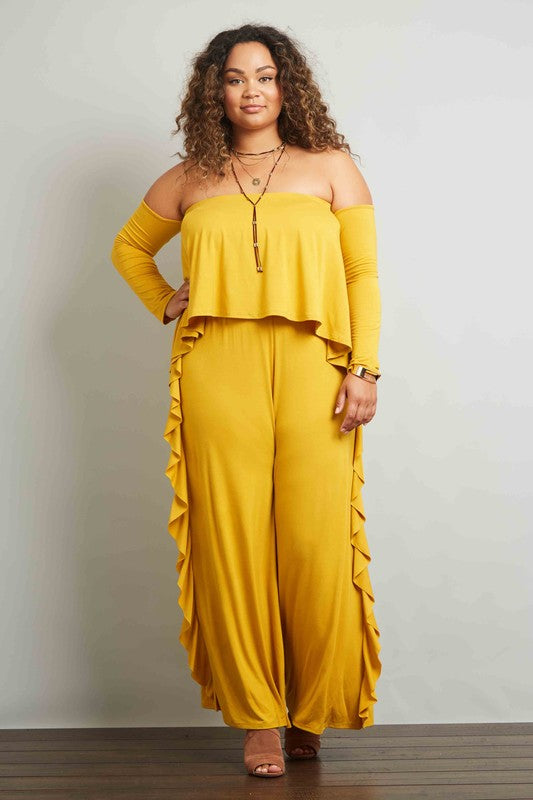 38fc3f65aa25fd Final Sale Curvy Long Sleeve Off Shoulder Layered Bodice Ruffle Side Seam  Wide Leg Jumpsuit ...