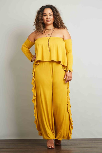 Final Sale Curvy Long Sleeve Off Shoulder Layered Bodice Ruffle Side Seam Wide Leg Jumpsuit - Superior Boutique