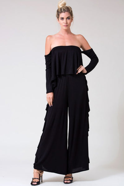 Final Sale Long Sleeve Off Shoulder Layered Bodice Ruffle Side Seam Wide Leg Jumpsuit - Superior Boutique