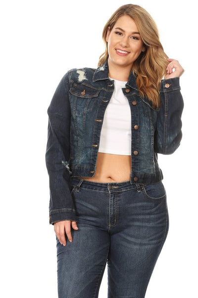 Cropped Denim Distressed Jacket - Dark Blue