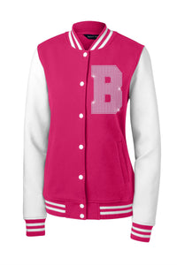 Ladies Fleece Letterman Bling Jacket