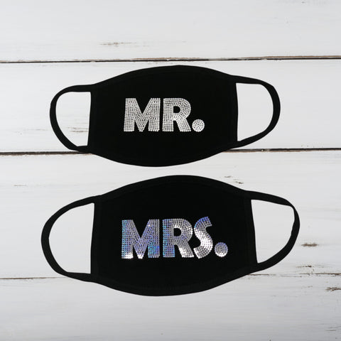 Mr. and Mrs. Face Masks Set (Bling/Matte)