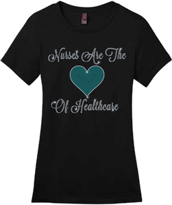 Nurses Are The Heart Of Healthcare Bling Short Sleeve Style Shirts