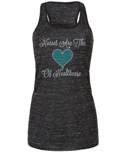 Nurses Are The Heart Of Heathcare Bling Flowy Racerback Tank