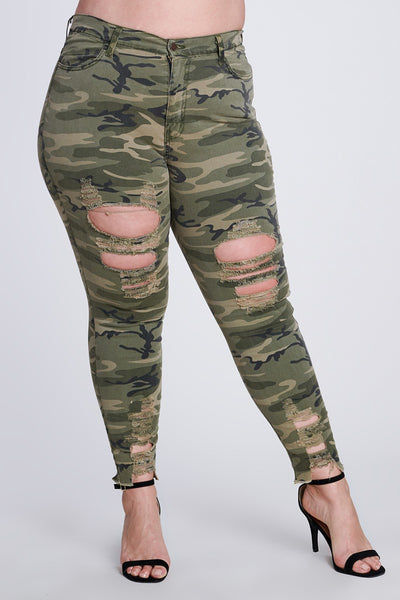 War Ready Camo Distressed Pants - Superior Boutique