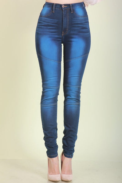 High Waist Hand Sanding Skinny Jean - Superior Boutique