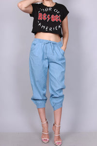 Light Blue Calf Length Jogger Pants - Superior Boutique