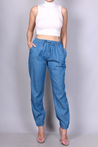 Chambray Elastic Waist Jogger Pants - Superior Boutique