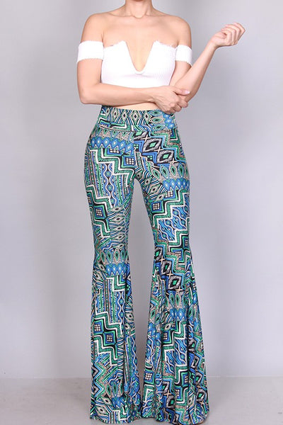 Blue Multi Bell Bottom Pants