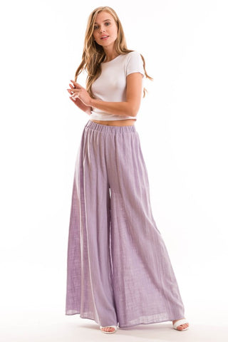 High Waisted Full Length Wide Leg Pants