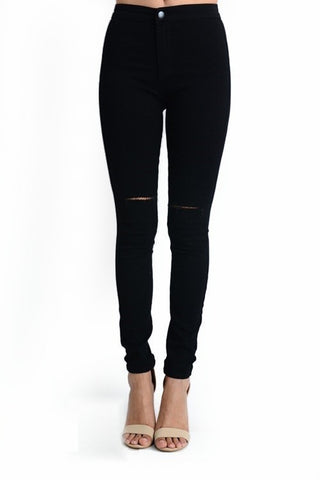 Curvy High Waist Skinny Jeans With Open Knee Design - Superior Boutique