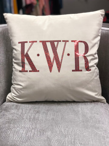 Bold Wedding Monogram Velvet Bling Pillow Cover 18x18 - Superior Boutique